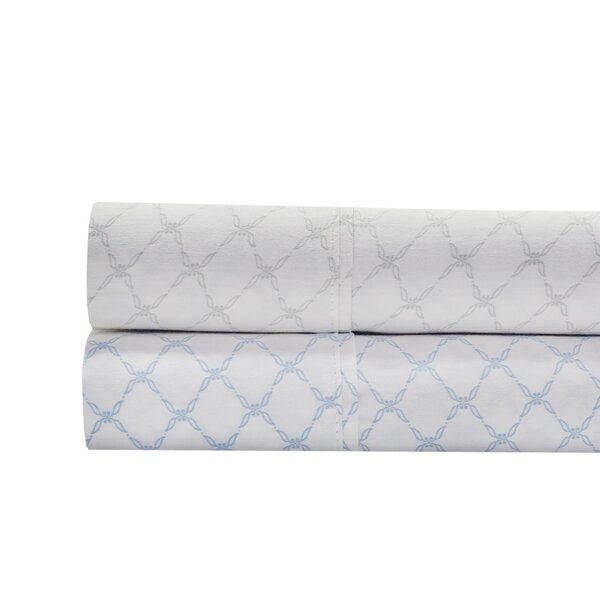Alfonso Lattice Print 300 Thread Count 100% Cotton 4 Piece Sheet Set by The Twillery Co.